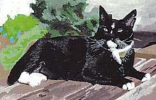 Slate painting of Jack by Mari Bell